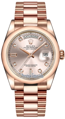 Rolex Day-Date 36mm Everose Gold Domed Bezel 118205 Pink Diamond President