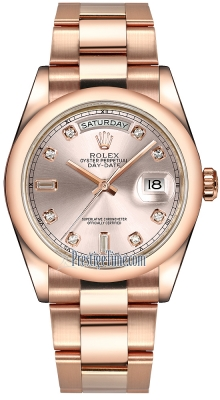 Rolex Day-Date 36mm Everose Gold Domed Bezel 118205 Pink Diamond Oyster