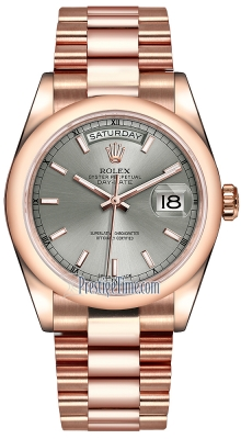 Rolex Day-Date 36mm Everose Gold Domed Bezel 118205 Rhodium Index President