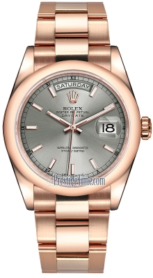 Rolex Day-Date 36mm Everose Gold Domed Bezel 118205 Rhodium Index Oyster