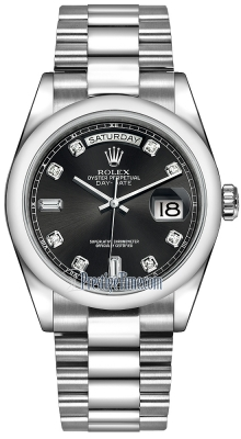 Rolex Day-Date 36mm Platinum Domed Bezel 118206 Black Diamond President