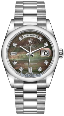 Rolex Day-Date 36mm Platinum Domed Bezel 118206 Black MOP Diamond President