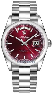 Rolex Day-Date 36mm Platinum Domed Bezel 118206 Cherry Index President