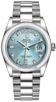 Rolex Day-Date 36mm Platinum Domed Bezel 118206 Ice Blue Diamond President