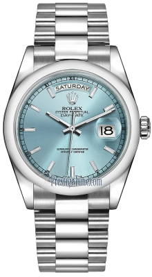 Rolex Day-Date 36mm Platinum Domed Bezel 118206 Ice Blue Index President
