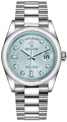 Rolex Day-Date 36mm Platinum Domed Bezel 118206 Ice Blue Jubilee Diamond President