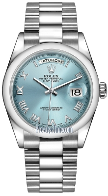 Rolex Day-Date 36mm Platinum Domed Bezel 118206 Ice Blue Roman President