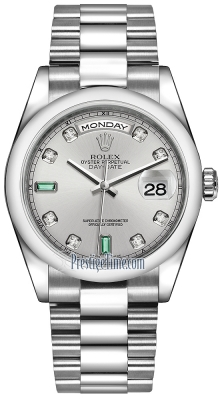 Rolex Day-Date 36mm Platinum Domed Bezel 118206 Rhodium Diamond Emerald President