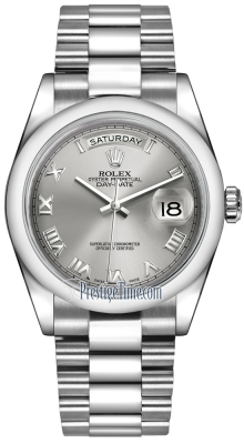 Rolex Day-Date 36mm Platinum Domed Bezel 118206 Rhodium Roman President