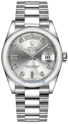 Rolex Day-Date 36mm Platinum Domed Bezel 118206 Silver Diamond President