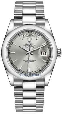 Rolex Day-Date 36mm Platinum Domed Bezel 118206 Silver Index President