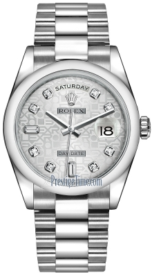Rolex Day-Date 36mm Platinum Domed Bezel 118206 Silver Jubilee Diamond President