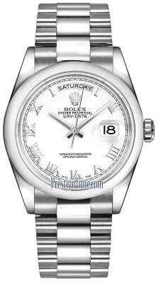 Rolex Day-Date 36mm Platinum Domed Bezel 118206 White Roman President