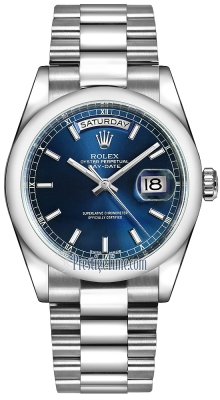 Rolex Day-Date 36mm Platinum Domed Bezel 118206 Blue Index President