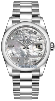 Rolex Day-Date 36mm Platinum Domed Bezel 118206 White MOP Diamond President
