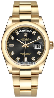 Rolex Day-Date 36mm Yellow Gold Domed Bezel 118208 Black Diamond Oyster