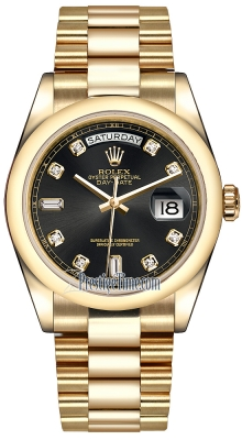 Rolex Day-Date 36mm Yellow Gold Domed Bezel 118208 Black Diamond President