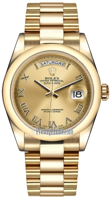 Rolex Day-Date 36mm Yellow Gold Domed Bezel 118208 Champagne Roman President