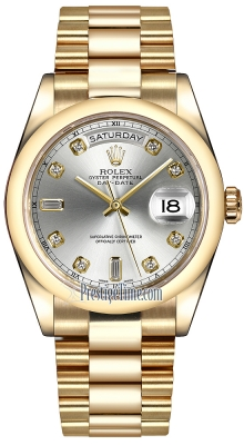 Rolex Day-Date 36mm Yellow Gold Domed Bezel 118208 Silver Diamond President