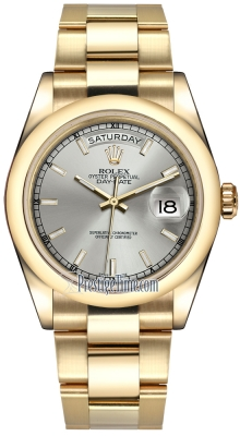 Rolex Day-Date 36mm Yellow Gold Domed Bezel 118208 Silver Index Oyster