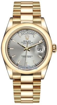 Rolex Day-Date 36mm Yellow Gold Domed Bezel 118208 Silver Index President