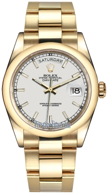 Rolex Day-Date 36mm Yellow Gold Domed Bezel 118208 White Index Oyster