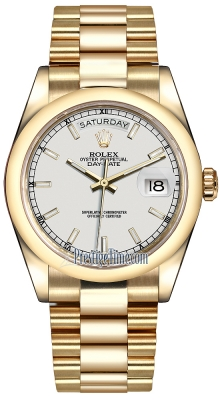 Rolex Day-Date 36mm Yellow Gold Domed Bezel 118208 White Index President
