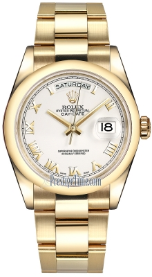 Rolex Day-Date 36mm Yellow Gold Domed Bezel 118208 White Roman Oyster
