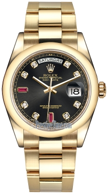Rolex Day-Date 36mm Yellow Gold Domed Bezel 118208 Black Diamond Ruby Oyster