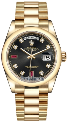 Rolex Day-Date 36mm Yellow Gold Domed Bezel 118208 Black Diamond Ruby President