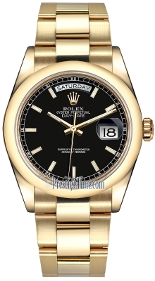 Rolex Day-Date 36mm Yellow Gold Domed Bezel 118208 Black Index Oyster