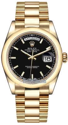 Rolex Day-Date 36mm Yellow Gold Domed Bezel 118208 Black Index President