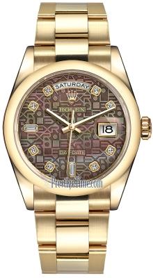 Rolex Day-Date 36mm Yellow Gold Domed Bezel 118208 Black MOP Jubilee Diamond Oyster