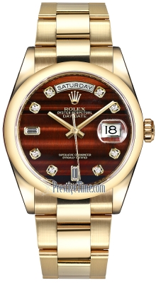 Rolex Day-Date 36mm Yellow Gold Domed Bezel 118208 Bulls Eye Diamond Oyster