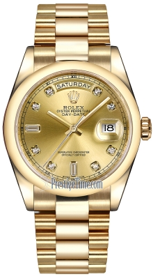 Rolex Day-Date 36mm Yellow Gold Domed Bezel 118208 Champagne Diamond President