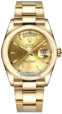 Rolex Day-Date 36mm Yellow Gold Domed Bezel 118208 Champagne Index Oyster