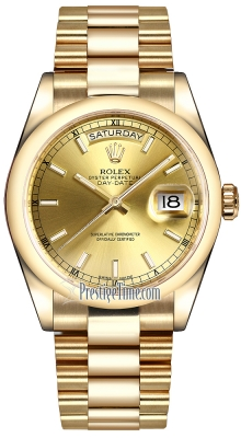 Rolex Day-Date 36mm Yellow Gold Domed Bezel 118208 Champagne Index President