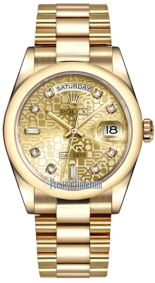 Rolex Day-Date 36mm Yellow Gold Domed Bezel 118208 Champagne Jubilee Diamond President