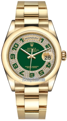 Rolex Day-Date 36mm Yellow Gold Domed Bezel 118208 Green Pave Diamond Arabic Oyster