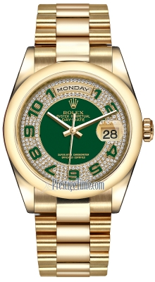 Rolex Day-Date 36mm Yellow Gold Domed Bezel 118208 Green Pave Diamond Arabic President