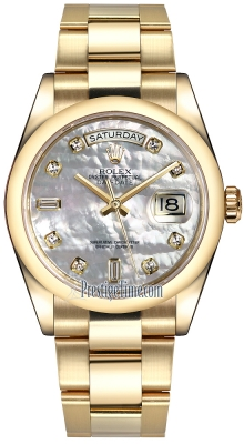 Rolex Day-Date 36mm Yellow Gold Domed Bezel 118208 White MOP Diamond Oyster