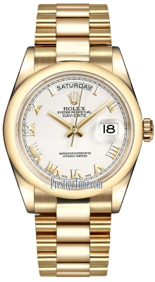 Rolex Day-Date 36mm Yellow Gold Domed Bezel 118208 White Roman President