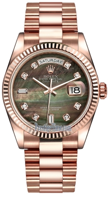 Rolex Day-Date 36mm Everose Gold Fluted Bezel 118235 Black MOP Diamond President