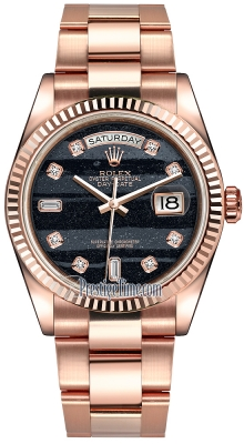 Rolex Day-Date 36mm Everose Gold Fluted Bezel 118235 Ferrite Diamond Oyster