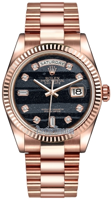 Rolex Day-Date 36mm Everose Gold Fluted Bezel 118235 Ferrite Diamond President