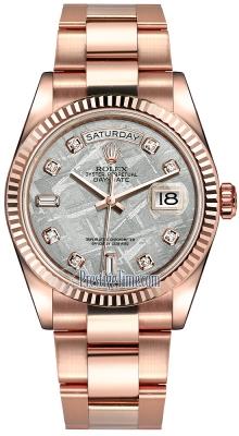 Rolex Day-Date 36mm Everose Gold Fluted Bezel 118235 Meteorite Diamond Oyster