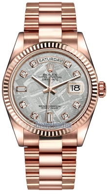 Rolex Day-Date 36mm Everose Gold Fluted Bezel 118235 Meteorite Diamond President