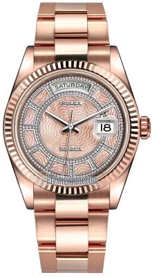 Rolex Day-Date 36mm Everose Gold Fluted Bezel 118235 Pink MOP Carousel Diamond Oyster
