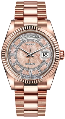 Rolex Day-Date 36mm Everose Gold Fluted Bezel 118235 Pink MOP Carousel Diamond President