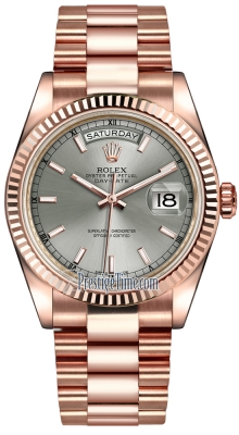 Rolex Day-Date 36mm Everose Gold Fluted Bezel 118235 Rhodium Index President